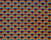 Cotton Fabric - Rainbows In Line on Black Quilt Cotton Fabric BTY - Select Your Size or By The Yard - 100% Cotton Fabric