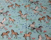 """Flannel Fabric - Pretty Ponies - 26"""" REMNANT - 100% Cotton Flannel"""