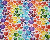 Flannel Fabric - Watercolor Hearts - REMNANT - 100% Cotton Flannel