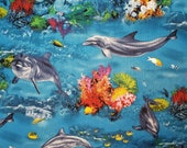 Dolphins and Coral Ocean Sealife - 100% Cotton Fabric - Select Your Size or By The Yard