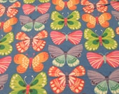 "Flannel Fabric - Bright Butterfly on Blue  - 27"" REMNANT - 100% Cotton Flannel"