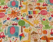 """Flannel Fabric - ABC Animals - 32"""" REMNANT - 100% Cotton Flannel"""