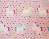 Rainbow Unicorns and Hearts on Pink - 100% Cotton Fabric - Select Your Size or By The Yard