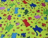 """Flannel Fabric - Cats and Mice on Yellow - 26"""" REMNANT - 100% Cotton Flannel"""
