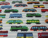 """Flannel Fabric - High Speed Trains Colorful - 25"""" REMNANT - 100% Cotton Flannel"""