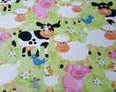 "Flannel Fabric - Farm Animals Light Green - 33"" REMNANT - 100% Cotton Flannel"