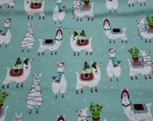 Christmas Flannel Fabric - Llama Fun Holiday - REMNANT - 100% Cotton Flannel