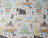 Flannel Fabric - Camping Mix - REMNANT - 100% Cotton Flannel