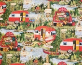 Ole Time Camping Travel, Susan Winget - 100% Cotton Fabric - Select Your Size or By The Yard