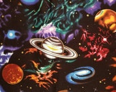 Large Planets Novelty Cotton Fabric - 100% Cotton - By The Yard