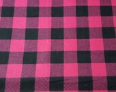 "Flannel Fabric - Pink Black Buffalo Check - 25"" REMNANT - 100% Cotton Flannel"