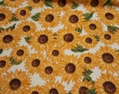Flannel Fabric - Sunflowers - REMNANT - 100% Cotton Flannel