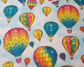 Flannel Fabric - Colorful Hot Air Balloons - REMNANT - 100% Cotton Flannel