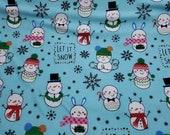 Christmas Flannel Fabric - Snowman Fun on Aqua - REMNANT - 100% Cotton Flannel
