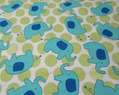 """Flannel Fabric - Elephant Dot Green - 19"""" REMNANT - 100% Cotton Flannel"""