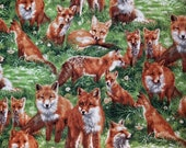 Woodland Foxes in Field of Grass - 100% Cotton Fabric - Select Your Size or By The Yard