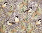 Woodland Birds Gray by Susan Winget Premium Quilting - 100% Cotton Fabric - Select Your Size or By The Yard