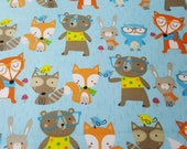 """Flannel Fabric - Forest Animals on Blue - 26"""" REMNANT - 100% Cotton Flannel"""