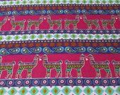 """Flannel Fabric - Aztec Llamas Stripe - 26"""" REMNANT - 100% Cotton Flannel"""