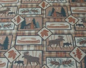 """Flannel Fabric - Big Country Woods Brown - 28"""" REMNANT - 100% Cotton Flannel"""