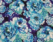 "Flannel Fabric - Peacock Distressed Floral - 31"" REMNANT - 100% Cotton Flannel"