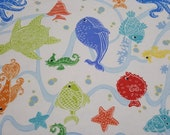 "Flannel Fabric - Under the Sea on White - 30"" REMNANT - 100% Cotton Flannel"