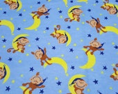 Flannel Fabric - Monkeys on the Moon - REMNANT - 100% Cotton Flannel