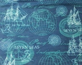 "Flannel Fabric - Navy Sailing Mix - 21"" REMNANT - 100% Cotton Flannel"