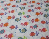 """Flannel Fabric - Bright Fishies - 20"""" REMNANT - 100% Cotton Flannel"""