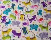 "Flannel Fabric - Meow Prrrr on Cream - 21"" REMNANT - 100% Cotton Flannel"