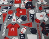 "Flannel Fabric - Touchdown - 27"" REMNANT - 100% Cotton Flannel"