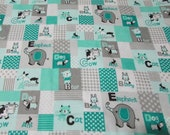 """Flannel Fabric - Alphabet Baby Animal Patch Teal and Gray - 26"""" REMNANT - 100% Cotton Flannel"""