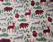 Flannel Fabric - Pattern Trap Woodland Animals - REMNANT - 100% Cotton Flannel