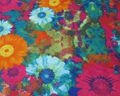 "Flannel Fabric - Floral TieDye - 23"" REMNANT - 100% Cotton Flannel"