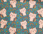 Rainbow Cat Unicorn Caticorn - 100% Cotton Fabric - Select Your Size or By The Yard