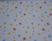 Flannel Fabric - Happy Stars - REMNANT - 100% Cotton Flannel