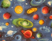 Planets Bright Space Blue - 100% Cotton Fabric - Select Your Size or By The Yard