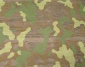 "Flannel Fabric - Green Camo - 21"" REMNANT - 100% Cotton Flannel"