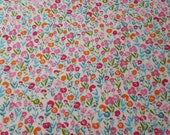 "Flannel Fabric - Pastel Ditzy Floral - 21"" REMNANT - 100% Cotton Flannel"