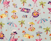 Flamingos On The Beach - 100% Cotton Fabric - Select Your Size or By The Yard
