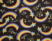 Tossed Rainbows On Black - 100% Cotton Fabric - Select Your Size or By The Yard