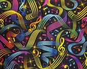 Bright Colorful Rainbow Music Notes on Black - 100% Cotton Fabric - Select Your Size or By The Yard