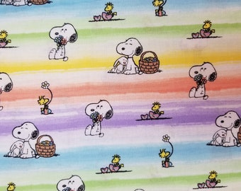 OOP Rare Holiday Fabric BTHY HF2309 12 Yard Peanuts Licensed Fabric Charlie Brown and Friends Easter Egg Hunt Peanuts Easter Toss