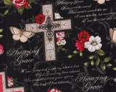 Cotton Fabric - Amazing Grace Crosses Floral on Black - Christian Quilting Cotton - Select Your Size or By The Yard - 100% Cotton Fabric
