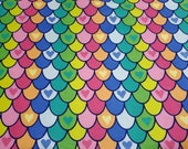 "Flannel Fabric - Multi Heart Mermaid Scales - 20"" REMNANT - 100% Cotton Flannel"