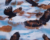 """Flannel Fabric - Soaring Eagles - 24"""" REMNANT - 100% Cotton Flannel"""