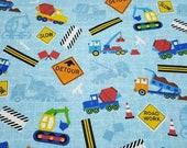 Flannel Fabric - Construction Trucks Light Blue - REMNANT - 100% Cotton Flannel