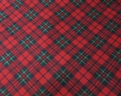 Flannel Fabric - Black Red Green Plaid - REMNANT - 100% Cotton Flannel