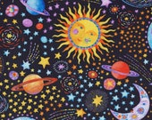 Cotton Fabric - Stay Wild Moon Child, Suns and Planets Space Galaxy Quilting Fabric - Select Your Size or By The Yard - 100% Cotton Fabric