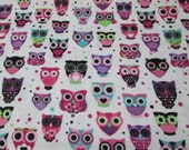 """Flannel Fabric - Bright Owls on White - 38"""" REMNANT - 100% Cotton Flannel"""